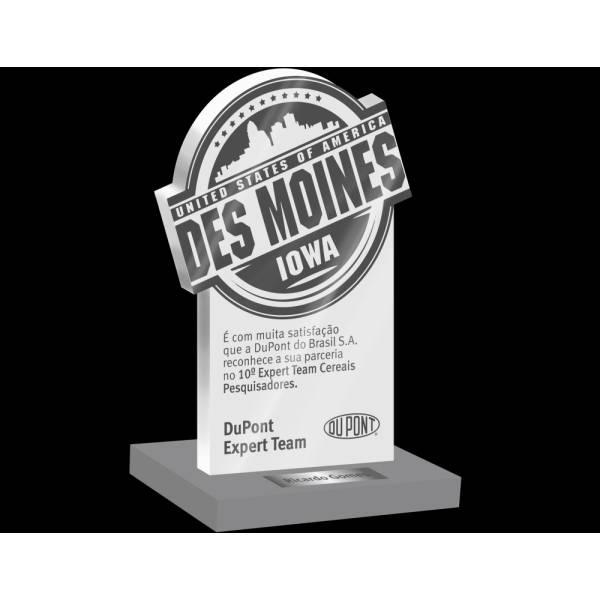 Troféus e Placas de Homenagem Personalizados em Ermelino Matarazzo - Troféu em Acrílico com Gravação Digital